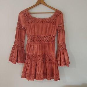 Free people eyelet ruffle boho dress size 4 EUC